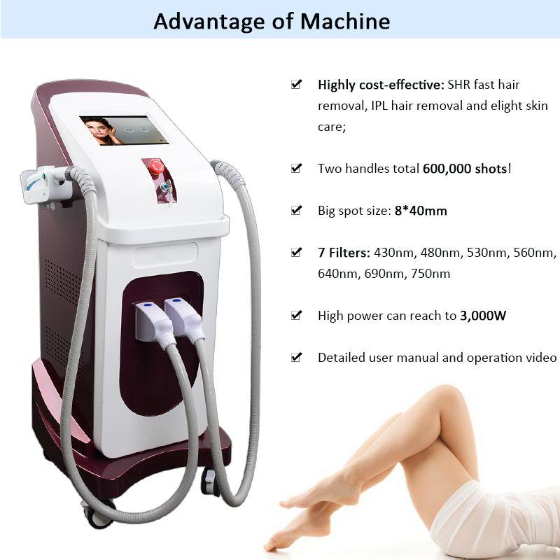 machine à l'épilation au laser ipl rajeunissement de la peau du visage elight épilation laser machine ipl le plus populaire