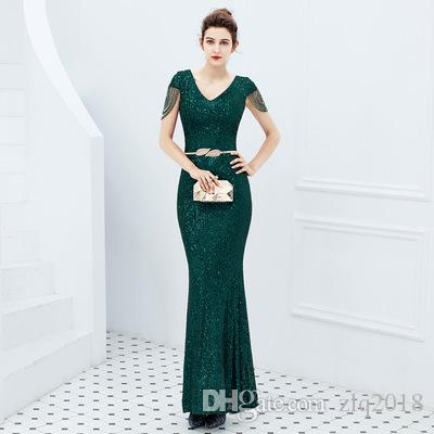 9e12126b1260d 2019 Elegant Mermaid Evening Dresses Short Sleeves V Neck Tassel Beading  Long Formal Plus Size Prom Dresses