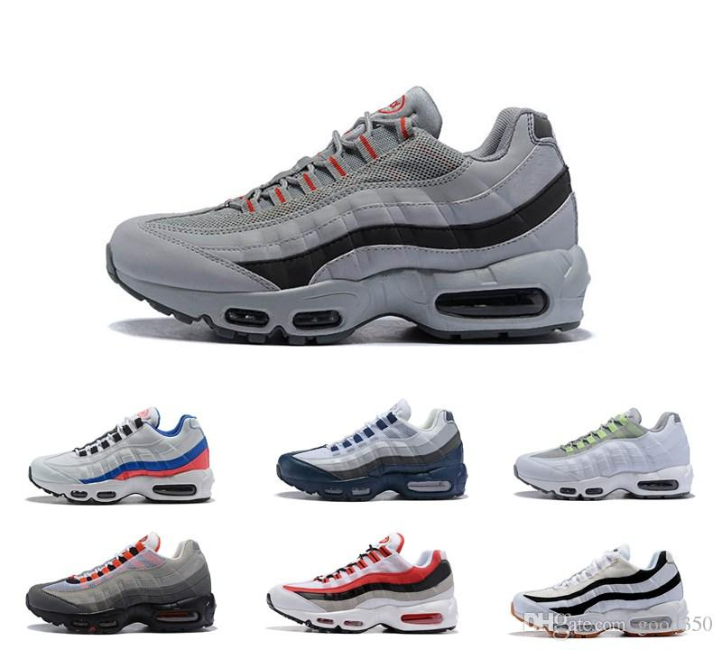 pretty nice f5945 48069 Compre 2018 Hombres Air Cushion 95 Zapatillas Para Correr Auténticos Zapatos  Deportivos Para Hombres Top Sneakers Para Caminar Tenis Zapatos Gray Man ...