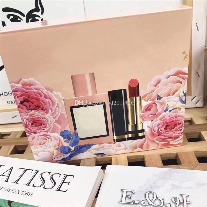 Highend brand Lipstick and perfume three piece set high quality cosmetic kit with Gift Box free shipping.