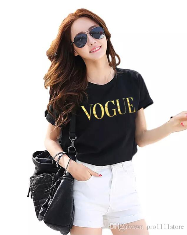 5d16c6eeb4 Acquista 2019 Spedizione Gratuita Estate Top Moda Vestiti Donna Vogue  Lettera Stampata Maglietta Femminile T Shirt Camisas Tees Signore Spandes  Manica Corta ...