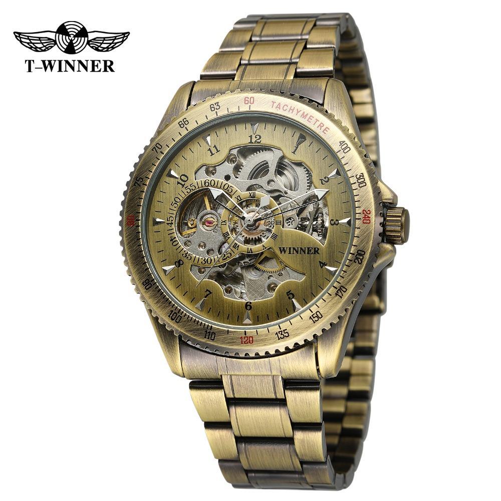 f1aa08af20a Compre T Vencedor Clássico Marca Homens Relógio Automático Esqueleto Antigo  Design De Aço Inoxidável Pulseira Coleção Relógio De Pulso WRG8031M4 De ...