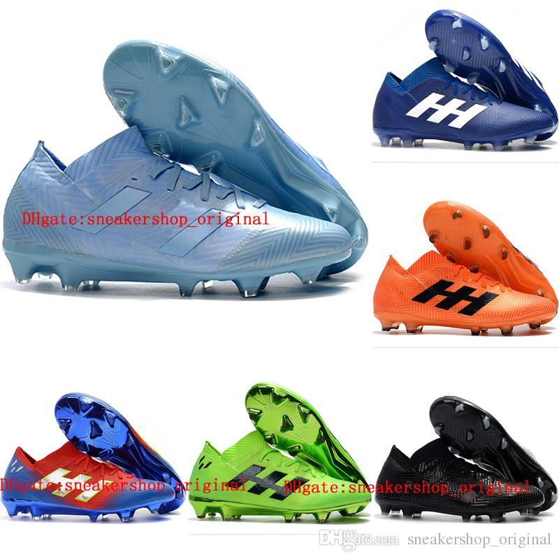 2019 Mens Soccer Cleats Nemeziz Messi 18.1 FG Soccer Shoes Nemeziz 18  Chaussures De Football Boots Chuteiras De Futebol Orange Baby Leather  Booties Toddler ... f68067d5015e6