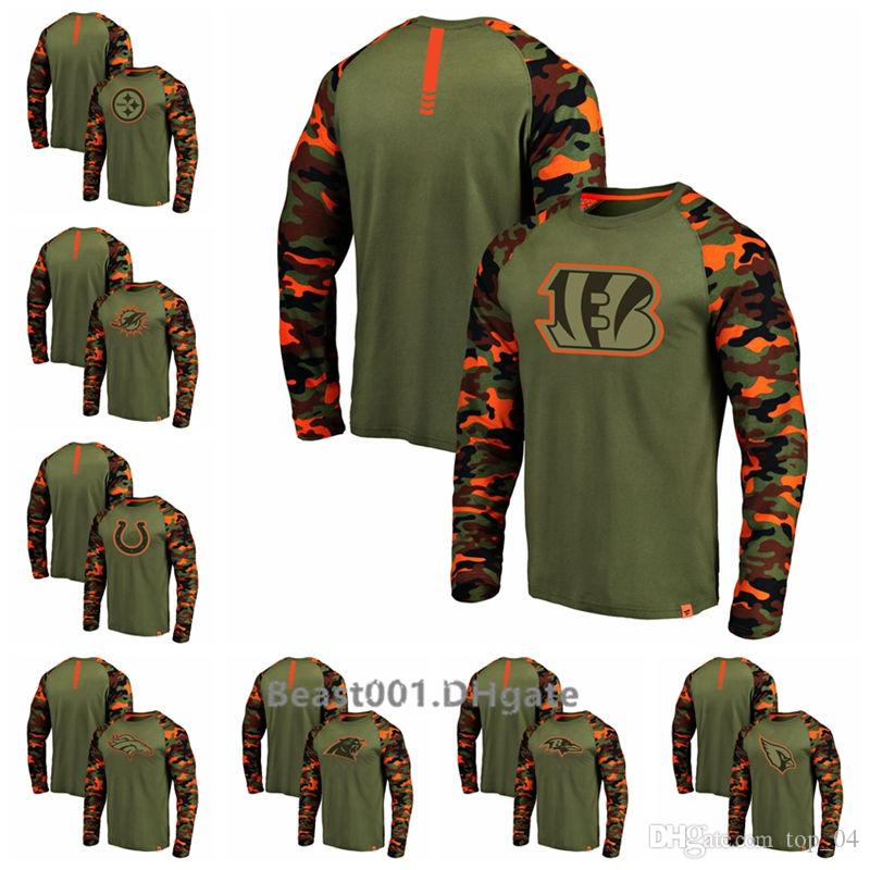 Men Steelers Dolphins Colts Broncos Bengals Panthers Ravens Cardinals ProLineby Fanatics Branded Olive Camo Recon Raglan Long Sleeve T-Shirt