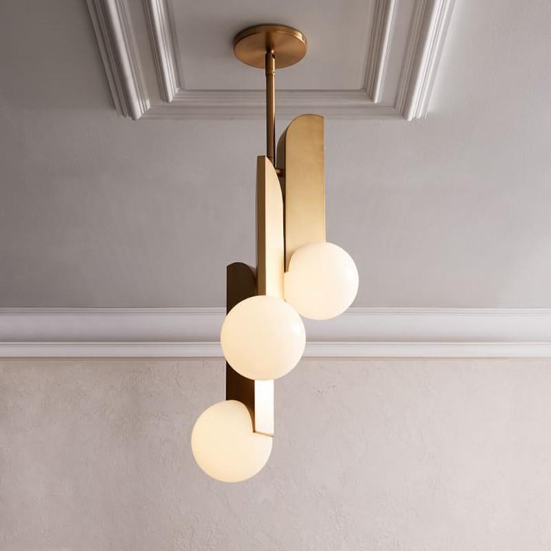 Hanglamp Moderne Métal Led Chambre Boule Verre En Or De Lampes 3 Luminaires Têtes Suspension Suspendues Chevet rxQdsCth