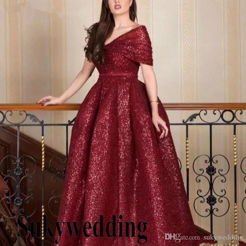 2019 Glitter Sequins Long Burgundy Evening Dresses Kaftan Dubai Arabic Prom  Party Dress V Neck Cap Sleeve Pageant Gowns Robe De Soiree Turkish Evening  ... 4487e755260e