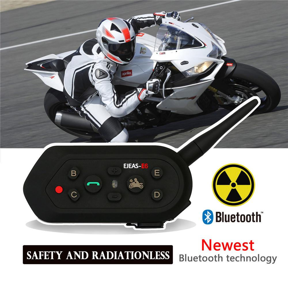 2019 Arrival E6 Motorcycle Intercom Intercomunicador 1200M Bluetooth IP65 Helmet Speaker Headset for 6 Riders Interphone MP3 GPS