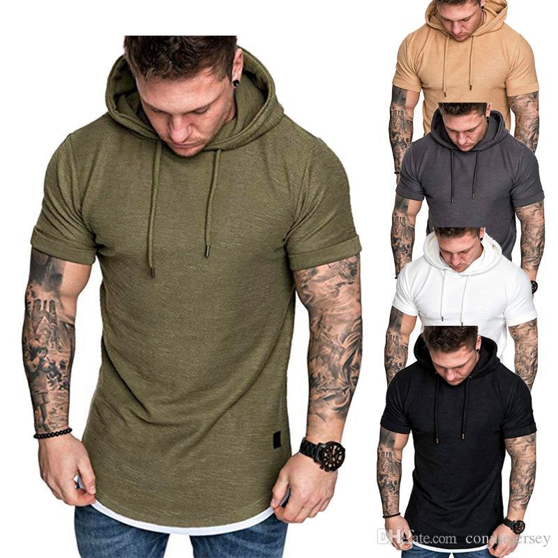 df0fd301c52 T Shirt Tees Men Hooded Fake Two Piece Summer Men's T-shirt Short ...