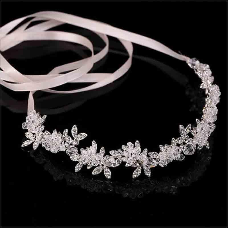 air accessories for brides New Arrival Noble Crystal Rhinestone Bridal Headpieces Satin Ribbon Wedding Hair Accessories for Brides Tiaras...
