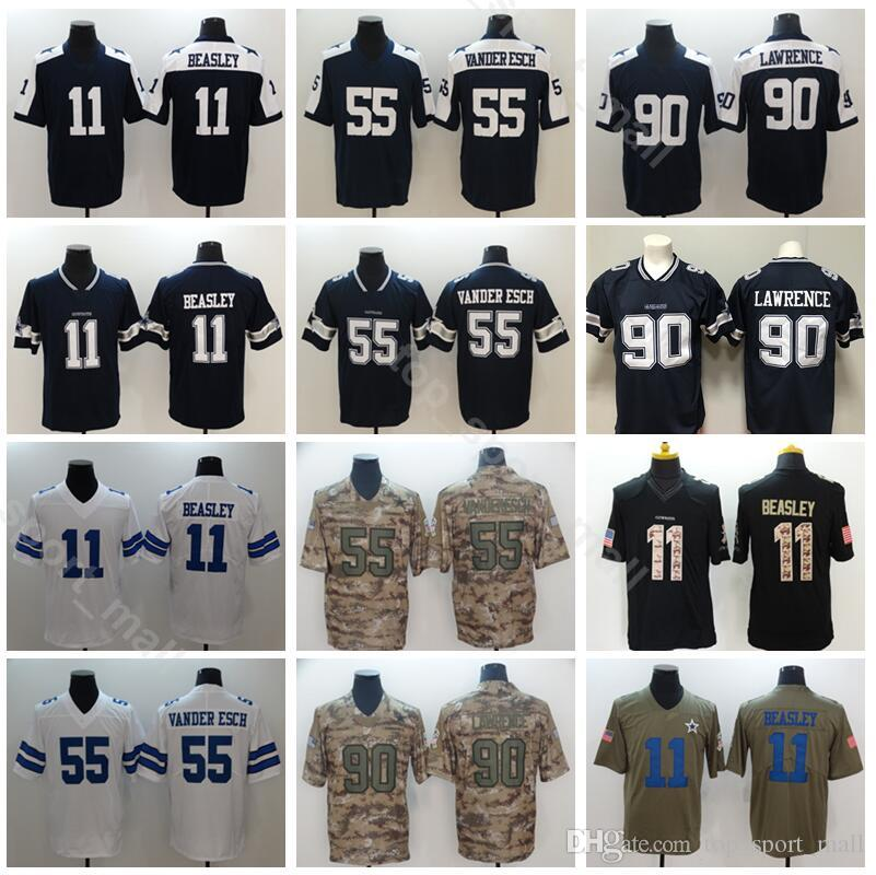 check out 7e81b 71adf Dallas Cowboys 55 Leighton Vander Esch Jersey Men Football Thanksgiving 11  Cole Beasley 90 DeMarcus Lawrence Vapor Untouchable Blue White