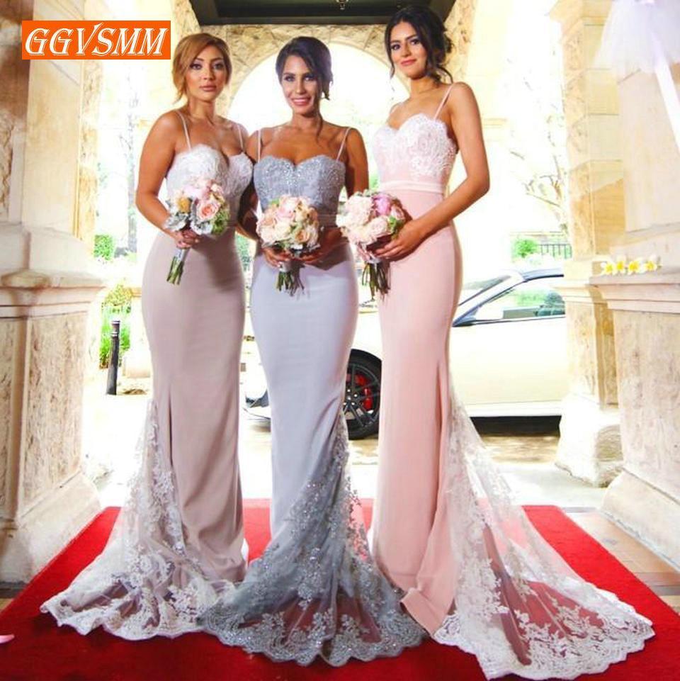ca1b2acdf7d 2019 Stylish Pink Long Bridesmaid Dresses Banquet Wedding Even ...