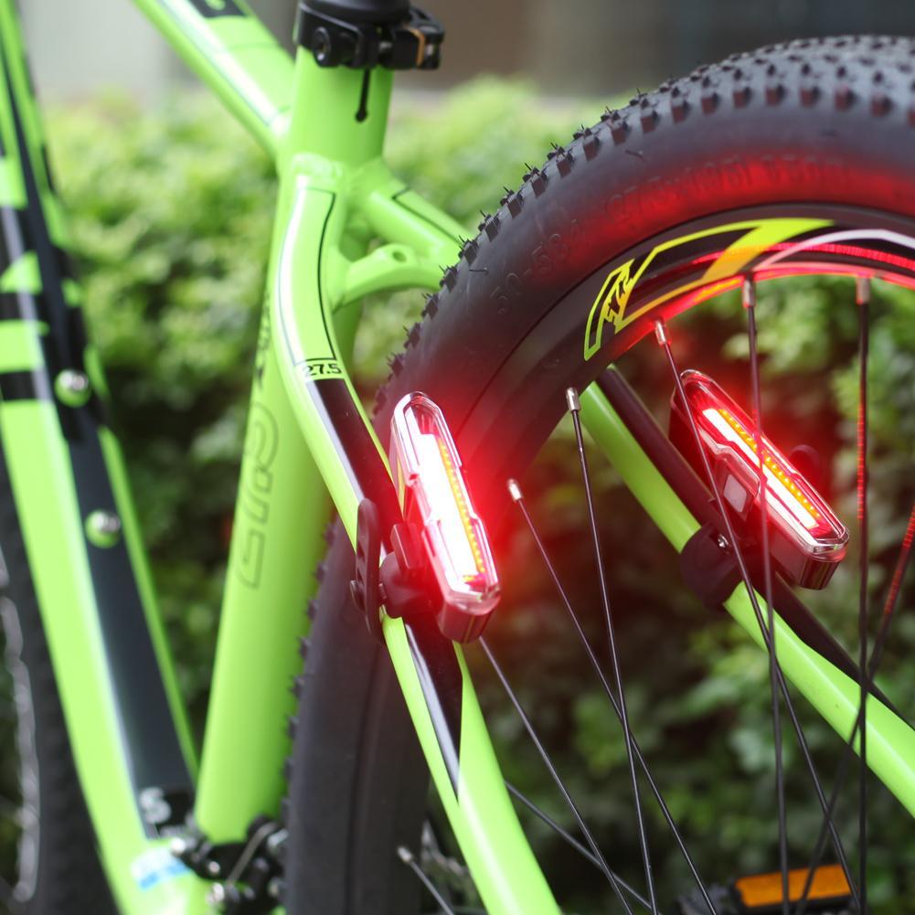 Luce Blu Bicicletta Rossa Usb Ricaricabile 5 Modalità Super Luminoso Pannocchia Portato In Bicicletta Coda Posteriore Lampada Bici Luci Staffa Cavo
