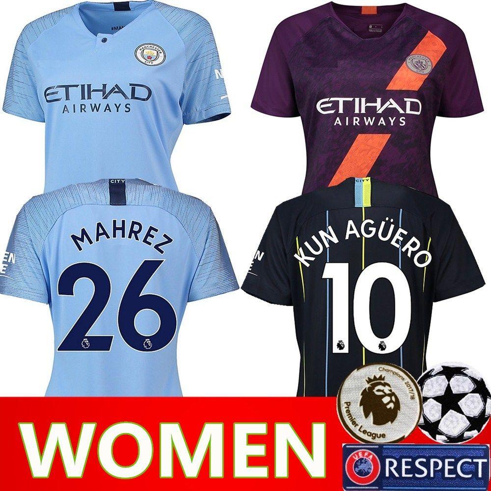 Women Manchester City Man Soccer Jersey Lady Champions JESUS KOMPANY KUN  AGUERO DE BRUYNE SILVA Woman Football Shirt Kits Custom Name Number UK 2019  From ... 9733712e6590