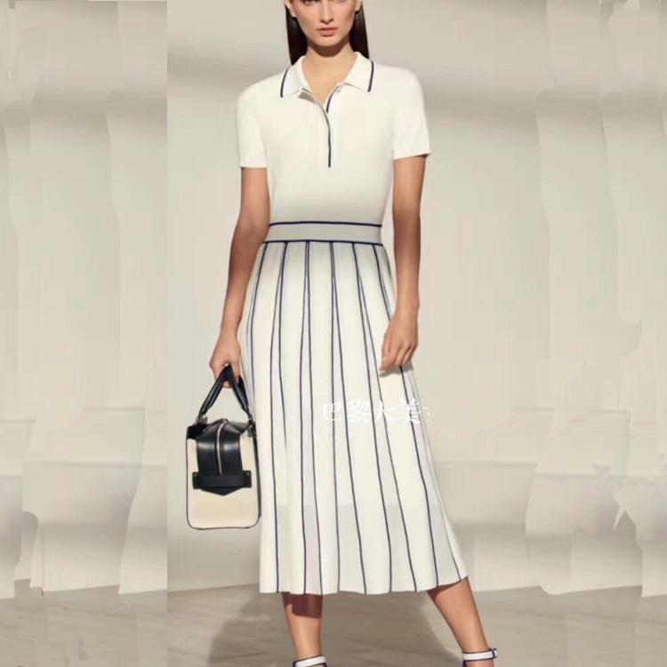 b283dad1cab New Quality 2019 Summer Lapel Half Open Chest Slim Knit Dress Dongguan  Factory Spot Real Shot High End Temperament Female Long Dresses Women  Summer Dress ...