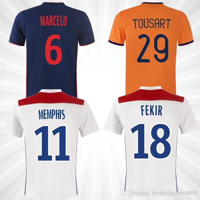 f32b9de55b5 2019 Maillot De Foot Olympique Lyonnais Lyon Soccer Jersey 2019 Lyon  Football Shirt TRAORE MEMPHIS FEKIR OL 18 19 Lyon Jersey Shirts MAILLOT  Foot From ...