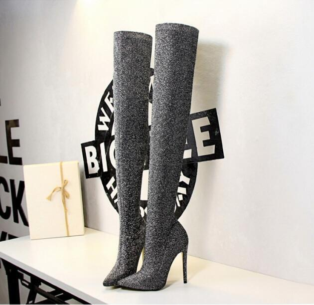 7aea4c118a4 Over Knee Boots Womens Sequins Pointed Toe Party Shoes Female Ladies Pump  Boots Sexy Thigh High High Heel Black Silver Hiking Boots Shoes For Women  From ...