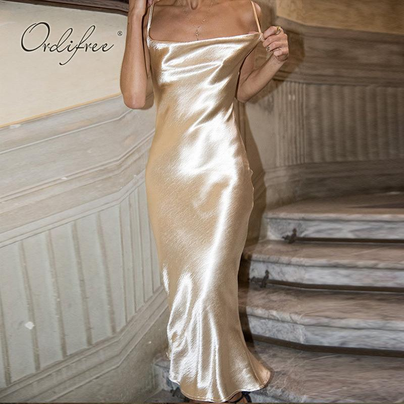 53d73ea7e2a4c Ordifree 2019 Summer Women Satin Slip Dress Spaghetti Strap Sexy Backless  Maxi Dress Gold Silk Long Dress Q190430