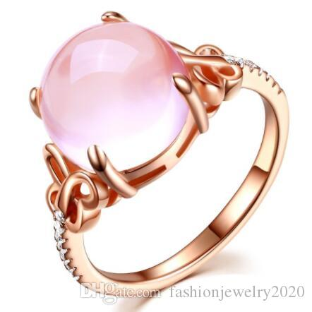 Moonrocy Brand Band Rings Cubic Zirconia Rose Gold Color Ross Quartz