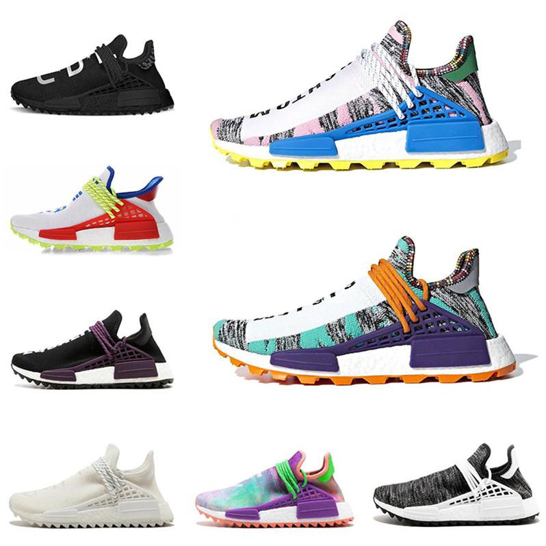 New designer Human Race mens running shoes Equality Pale nude Canvas Chalk Coral Pale nude Black Red women sports sneaker size 5-11 bj