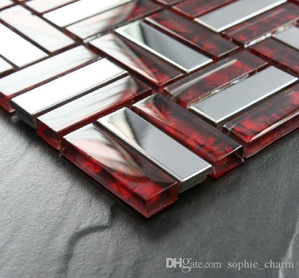 Merveilleux Red Glass Mosaic Silver Metal Tile Backsplash Stainless Steel SSMT021 Glass  Metallic Mosaic Bathroom Tile