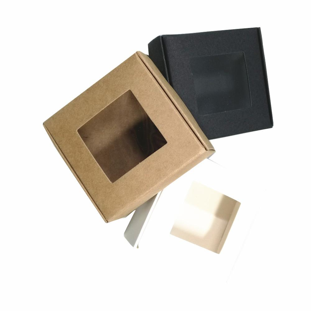 7.5x7.5x3cm Craft Paper Gift Boxes Wedding Supplies Cardboard Window Box for DIY Cookies Chocolate Storage Soap Display Pack Box