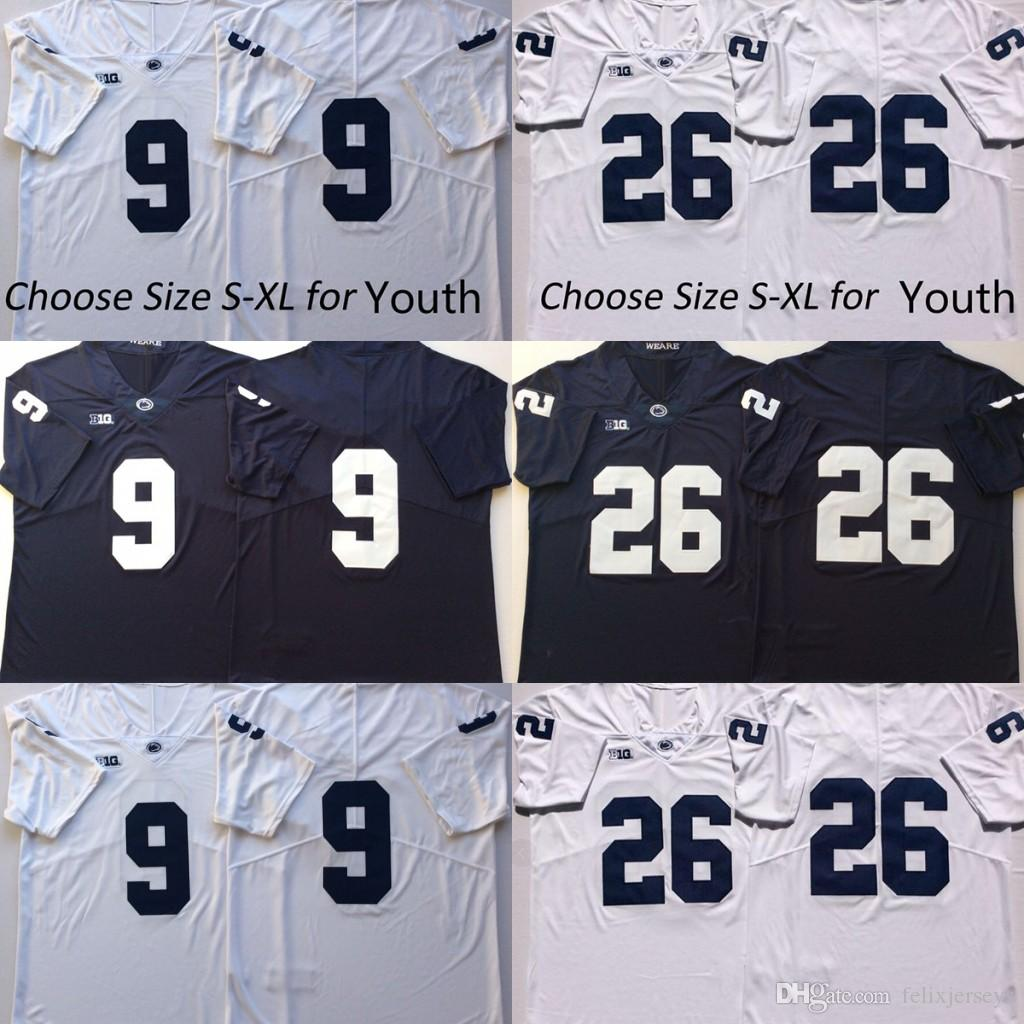 meet a809e 9661d Penn State Nittany Lions #9 Trace McSorley 26 Saquon Barkley College  Football Jersey No Name Navy Blue White Football Jerseys