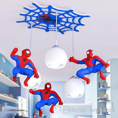 Newest Pendant Lamps Super hero LED Pendant Lights For Bedroom Kid's Room Lighting Fixtures Spiderman Ceiling Lamps Remote Control