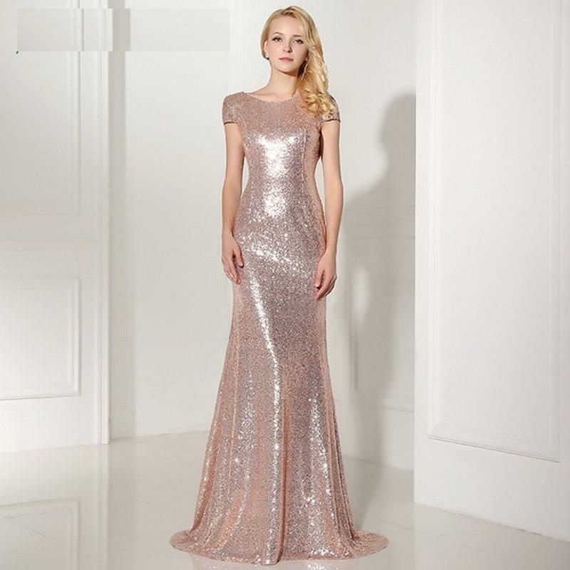 2018 Sexy Backless Rose Gold Sequined Evening Dresses Cap Sleeves ... aae704eaa610