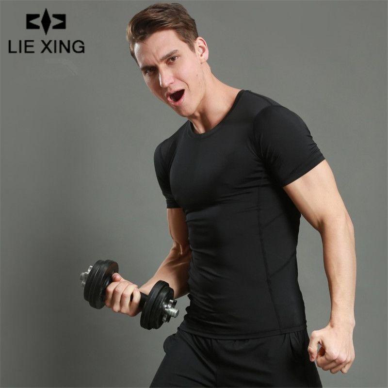 Lie Xing 2019 Stringer T-shirt Männer Turnhallen Bodybuilding Fitness  herren Singuletts Kurzarm Schnell Trocknend Enges T-shirt Elastisch