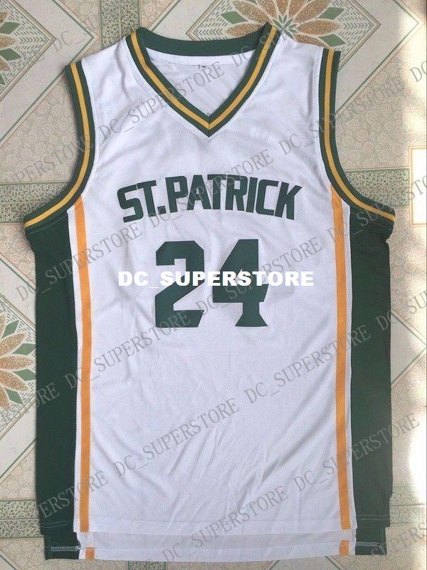 79aa54d0984 Cheap Custom Kyrie Irving  24 HS St. Patrick Basketball Jersey White ...
