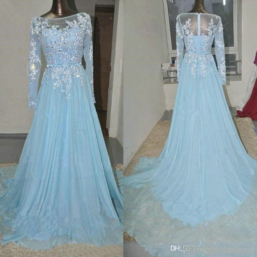 Sheer Neck Lace Applique Sequins Chiffon Prom Dress for Women Light Blue Crystals Evening Dresses Long Sleeves Arabic Plus Size