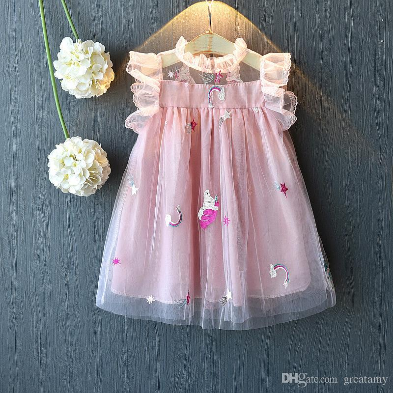 Latest design baby girls princess skirts pony horse unicorn embroidered screen kid dress children mesh tutu skirt kids boutiques clothing