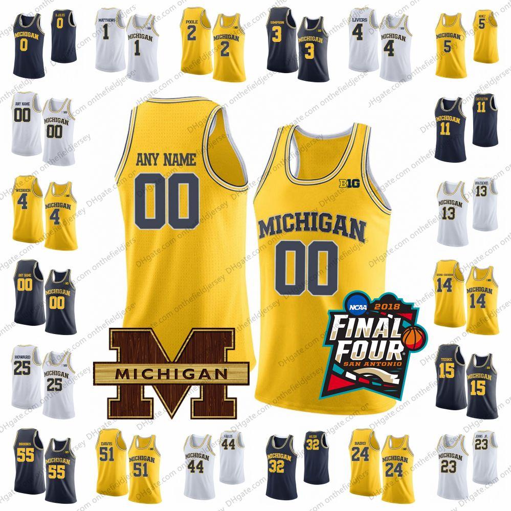ca1e24f7ae0 2019 Custom Michigan Wolverines College Basketball Jersey Any Name Number  13 Ignas Brazdeikis 2 Jordan Poole 1 Charles Matthews 15 Jon Teske From ...