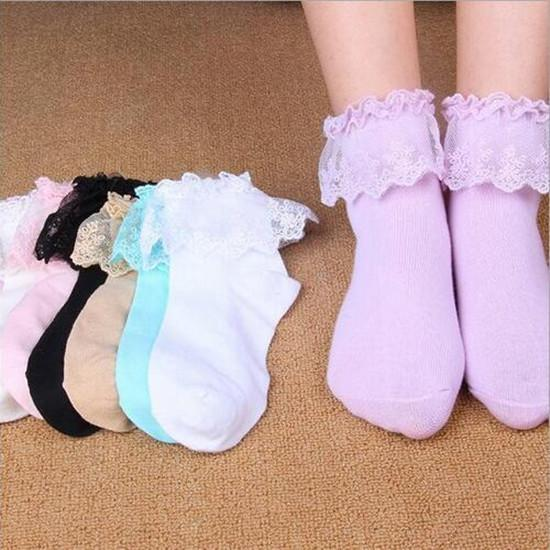 LADIES LOLITA PRETTY BLACK COTTON LACE RUFFLE TOP ANKLE SOCKS LOVELY QUALITY
