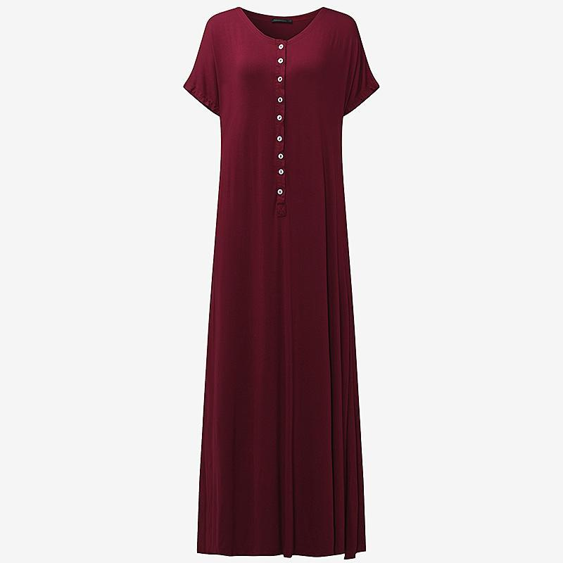 383ffd03c0a5 2019 CELMIA Women Loose Casual Solid Maxi Dress Summer Ladies V Neck Short  Sleeve Side Split Sexy Long Beach Dresses Vestidos From Daiming