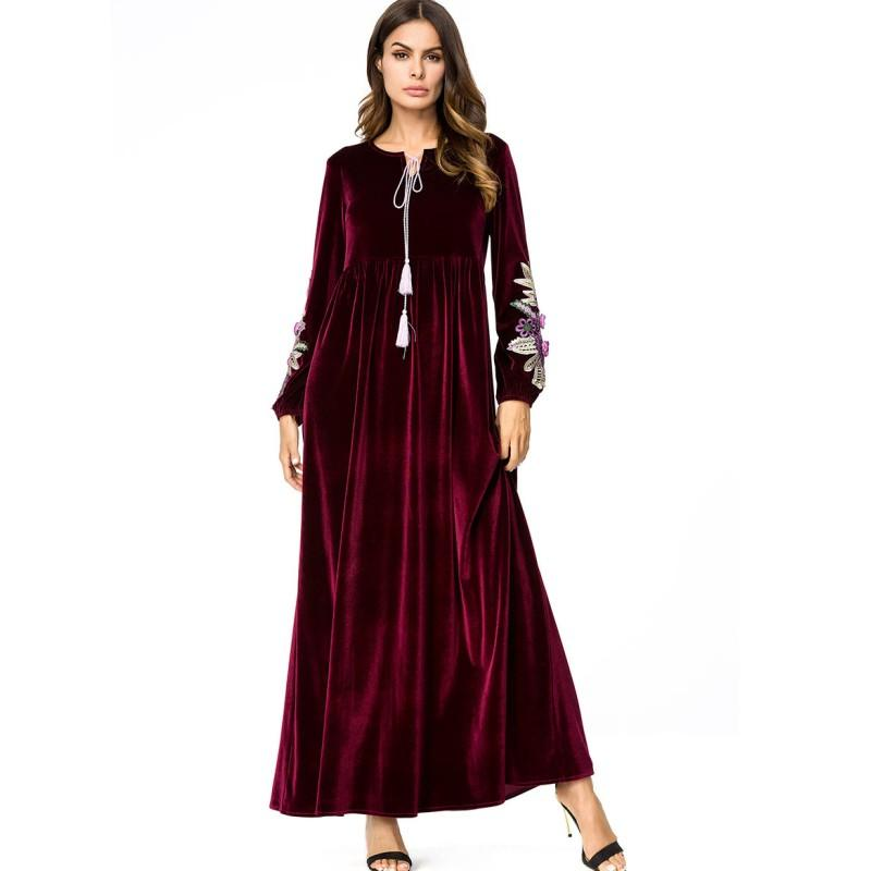 dbf200aacb5 YSMARKET Ethnic Clothing Plus Size Women Velvet Dress Long Maxi ...