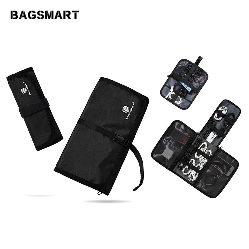 Luggage Bags Travel Bags BAGSMART 2 Pcs Electronics Accessories Organizer For Earphone Phone Charger Data Cables USB Travel Case Put In