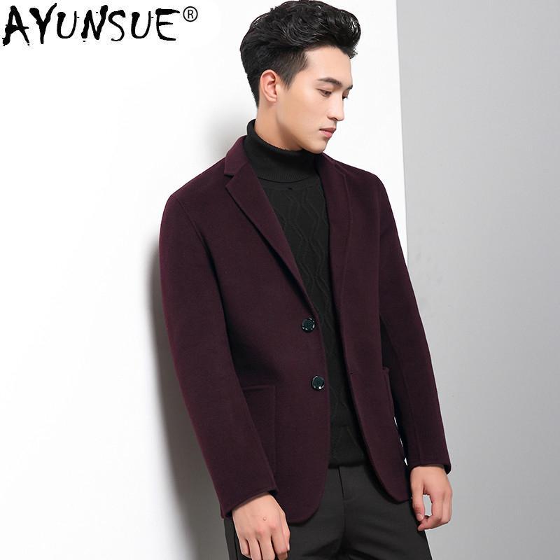 cb57b440666 2019 AYUNSUE Double Sided Wool Coat Men Slim Korean Man Jacket ...