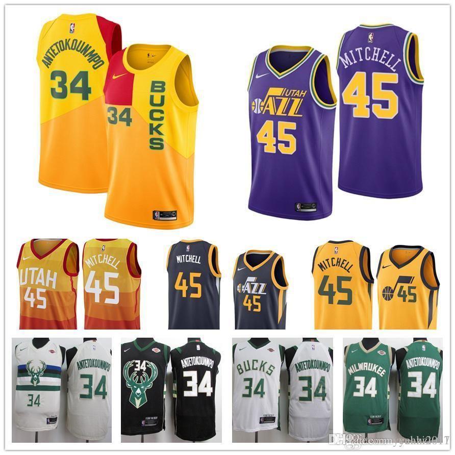 ... usa mens 2019 basketball milwaukee bucks jersey 34 giannis  antetokounmpo utah jazz 45 donovan mitchell ricky 46436550a