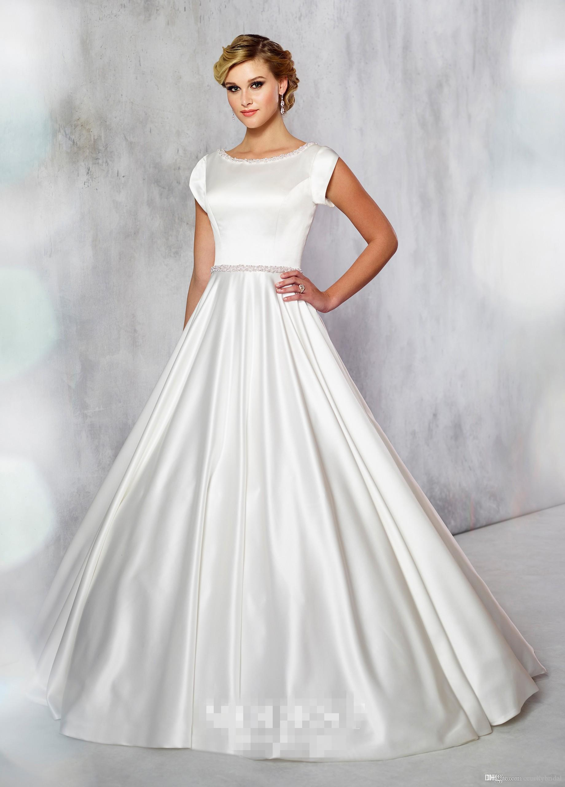 21d152f959 Simple A-line Satin Modest Wedding Dress With Cap Sleeves Beaded Neck and  Waist Temple Formal Bridal Gowns Custom Made