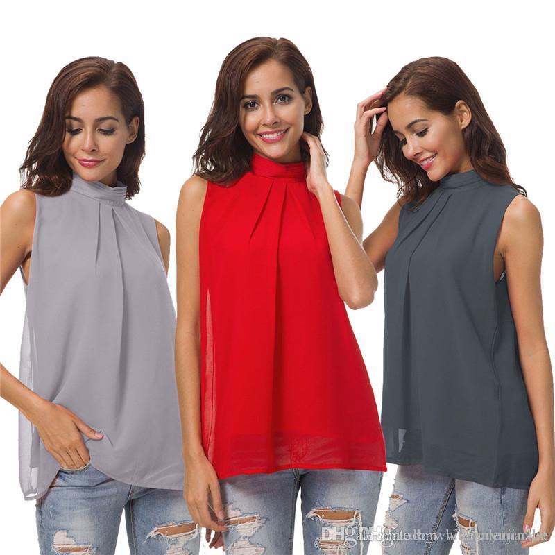 c0f57acd7ff06 Summer Tanks Women Chiffon Shirts Sleeveless Solid Womens Blouse ...