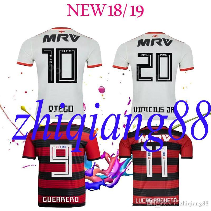 903f41a2ed Compre Nova Fonte CR Flamengo 2018 2019 Camisa De Futebol 18 19 Flamenco  Fora Branco Camisa De Futebol GUERRERO DIEGO Mulher Homem Camisa De Futebol  Maillot ...