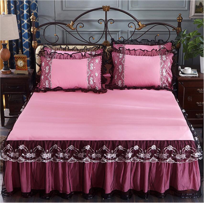 Black Lace Ruffles Bedding Bed Skirt Pillowcases Romantic Bedspread
