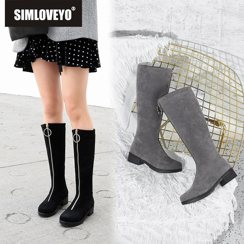 091a7677adc SIMLOVEYO 2019 Round Toe Zipper Knee High Boots Faux Suede Over The Knee  Wide Opening Big Size 32 44 Woman Square Heel C872b Winter Boots For Women  ...