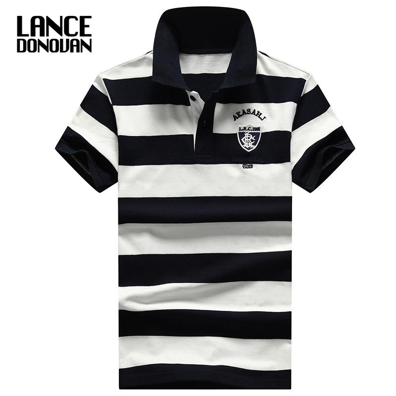 2018 New England Style Design Brand 92% Cotton Camisa Men Polo Shirt Casual Striped Slim Short Sleeves Plus Asian Size M-4xl Q190428