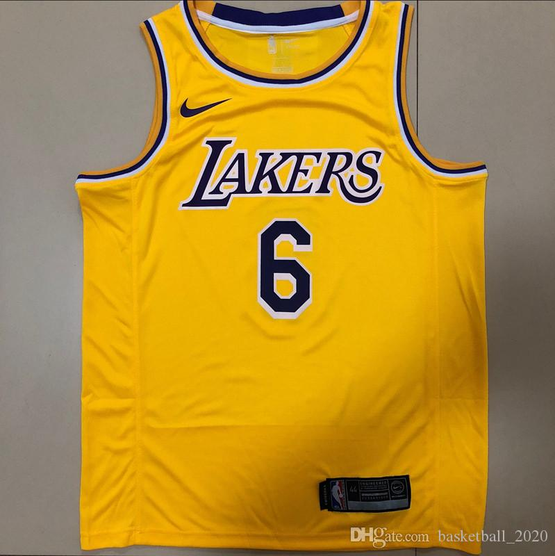watch bd46a a4f3c 2020 New Mens Laker 6# LeBron James Retro Yellow Swingman Basketball Jersey  Name And Number Hot pressing printed Authentic US Size XXS-XXL