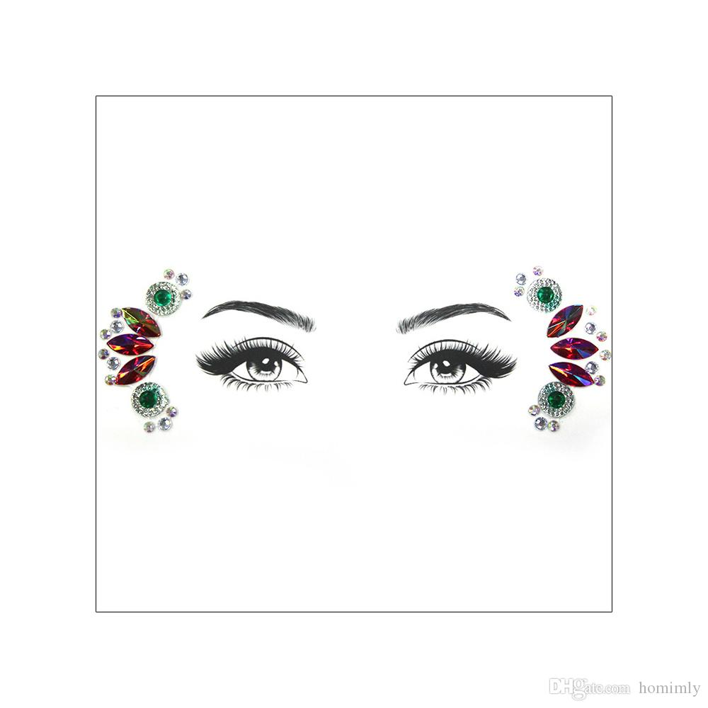 DIY 3D Face Gems Bling Diamond Rhinestone Stone Resin Flower Faerie Design Party Stage Hoilday Makeup Gift Crystal Orbit Tattoo Sticker Tool