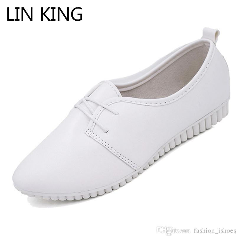 06c77708583 LIN KING New Spring Autumn Women Flats Casual Shoes Pointed Toe Lace Up  Ankle Loafers Comfortable Ladies Work Shoes Mother  10946 Oxford Shoes  Tennis Shoes ...