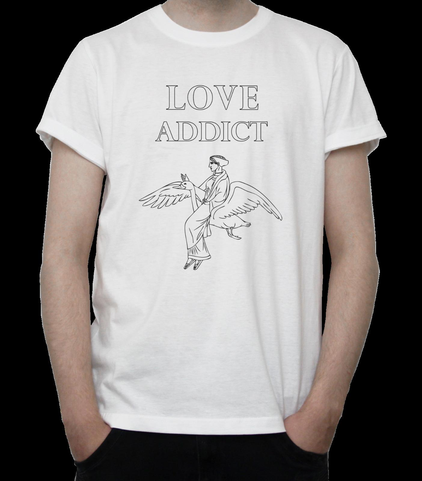 LOVE ADDICT DESIGN T-SHIRT Flying GODDESS Beautiful DRAWING Goose GREY White ize discout hot new tshirt top free shipping t-shirt