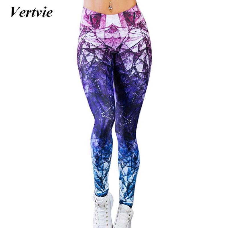 2e927260566 Compre Vertvie Mujer Pantalones De Yoga Fitness Sport Pantalones Sexy Color  Mezclado Impreso Leggings Gimnasio Medias Entrenamiento Para Yoga Secado  Rápido ...